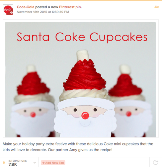 Top B2C brands on Pinterest: Coca-Cola santa cupcakes