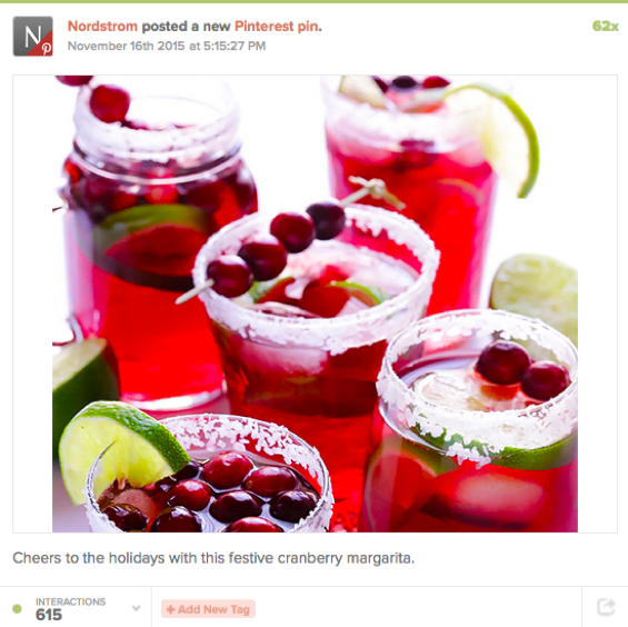 Top B2C brands on Pinterest: Nordstrom's cranberry drinks