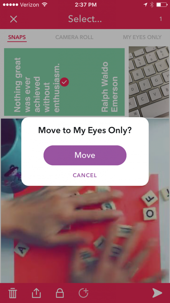 Snapchat Memories -- Move to My Eyes Only