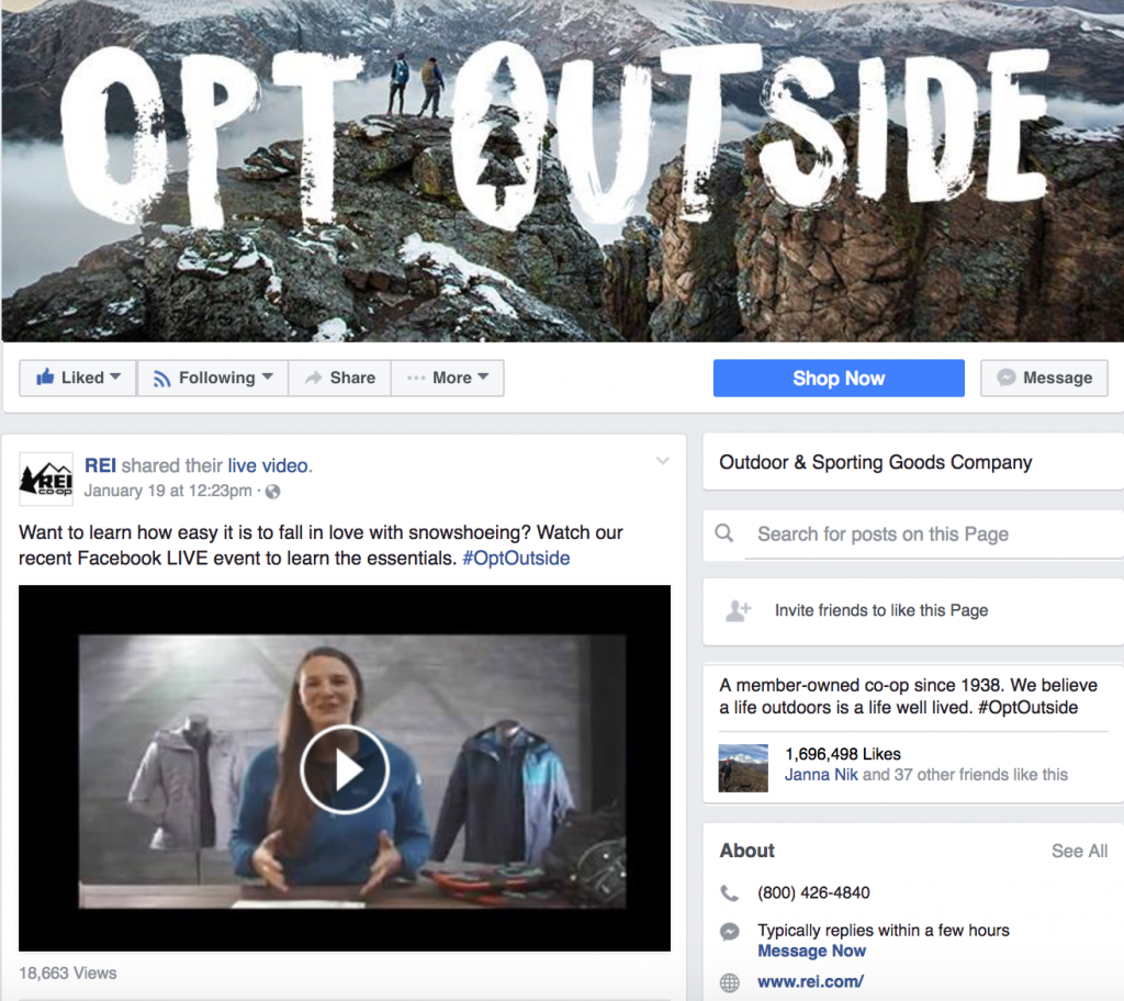 Example from REI's integrated marketing campaign #OptOutside.