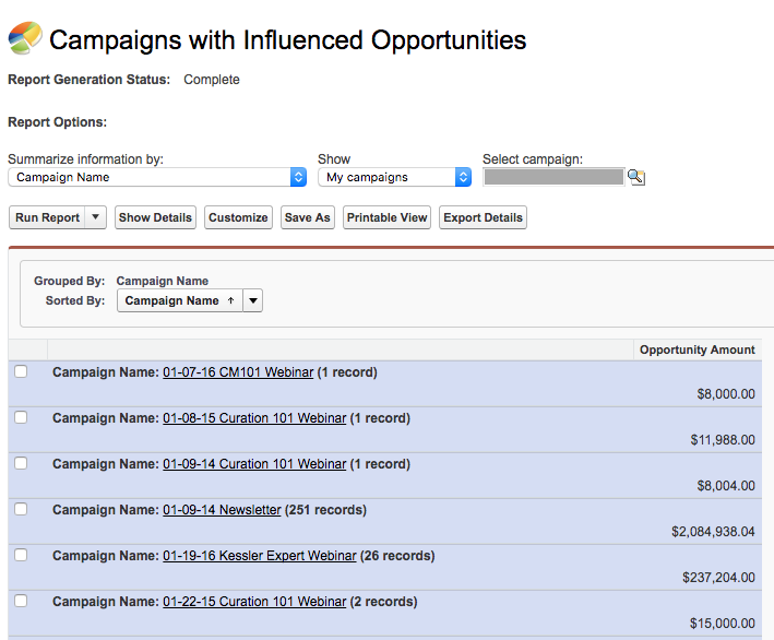 Example of Salesforce campaign influence.